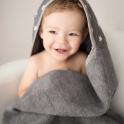 Bamboo hooded towel Stars White