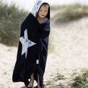 Bamboo hooded towel Indiana cat Blue