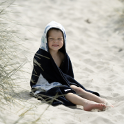 Bamboo hooded towel Sea friends Navy