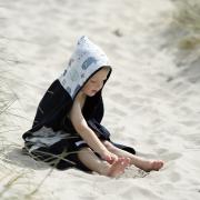 Bamboo hooded towel Sea friends Grey
