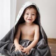 Bamboo hooded towel Heavenly birds White