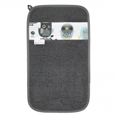 Bamboo hand towel Grey owls - Grey