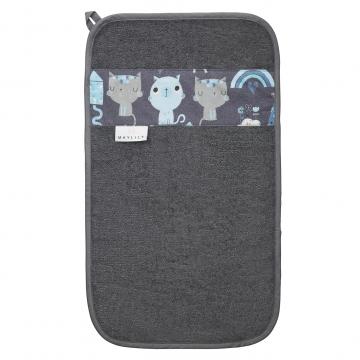 Bamboo hand towel Indiana cat Grey