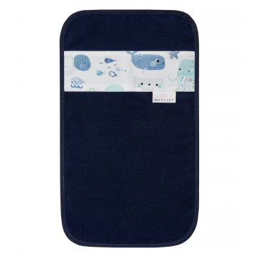 Bamboo hand towel Sea friends Navy