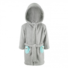 Fluffy bathrobe Owls - grey-mint