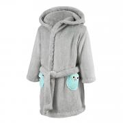 Bathrobe crocheted owls Mint-Grey