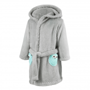 Bathrobe crocheted owls Mint-Grey