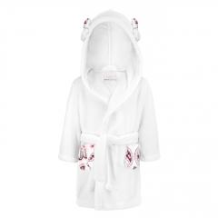 Fluffy bathrobe Flowers - white
