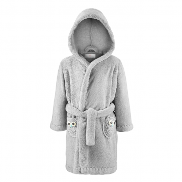 Bathrobe crocheted owls Grey-Grey