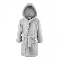 Fluffy bathrobe Owls - grey-grey