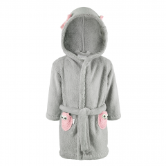 Fluffy bathrobe Owls - grey-dusty pink