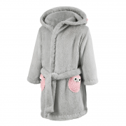 Bathrobe crocheted owls Pink-Grey