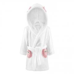 Fluffy bathrobe Owls - white-dusty pink