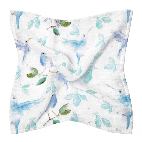 Bamboo muslin mini square Heavenly birds