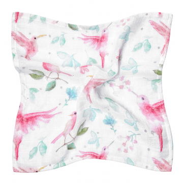 Bamboo muslin mini square Paradise birds