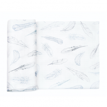 Bamboo muslin square Heavenly feathers