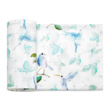 Bamboo muslin square Heavenly birds