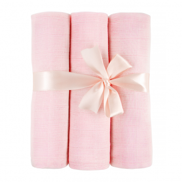 Muslin squares 3-pack - pink - OUTLET