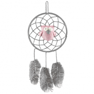 Dreamcatcher owl grey - dusty pink