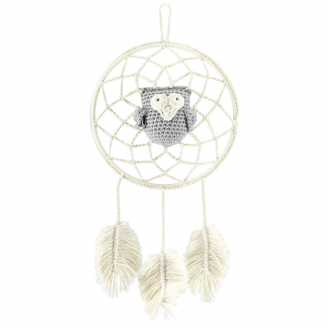 Dreamcatcher owl cream - grey