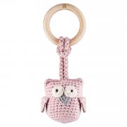 Eco-teether Owl - dusty pink