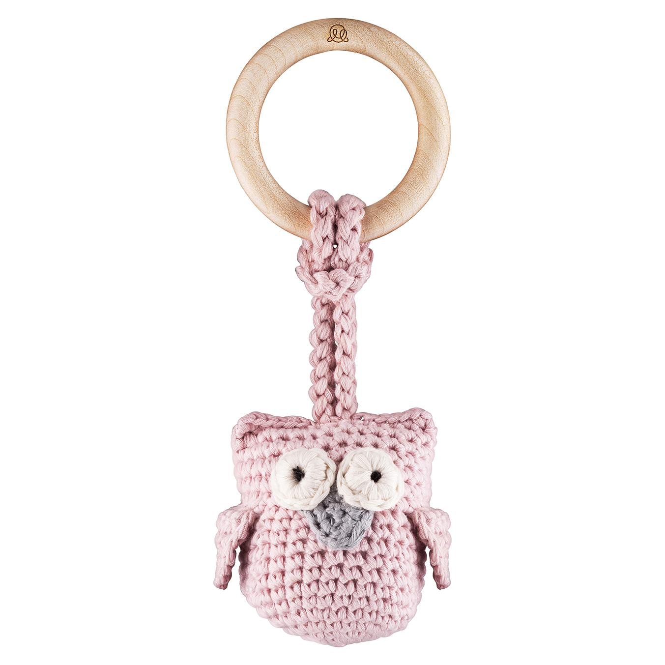Eco owl teether Dusty pink