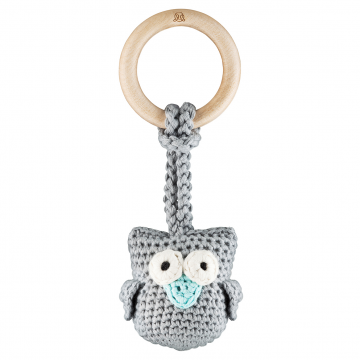 Eco owl teether Grey mint