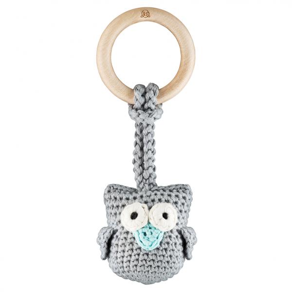 Eco owl teether Grey mint