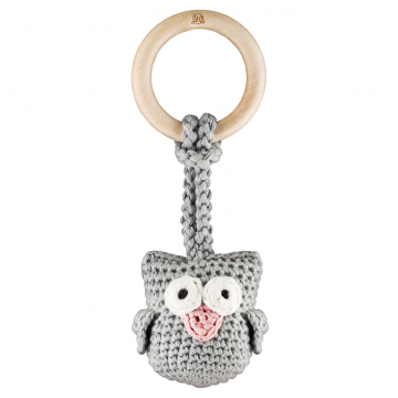 Eco owl teether Grey pink