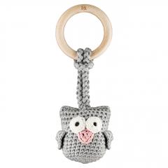 Eco owl teether Grey pink