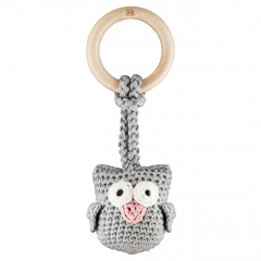 Eco-teether Owl - grey-dusty pink