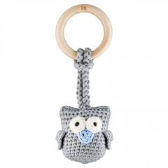 Eco-teether Owl - grey-light blue