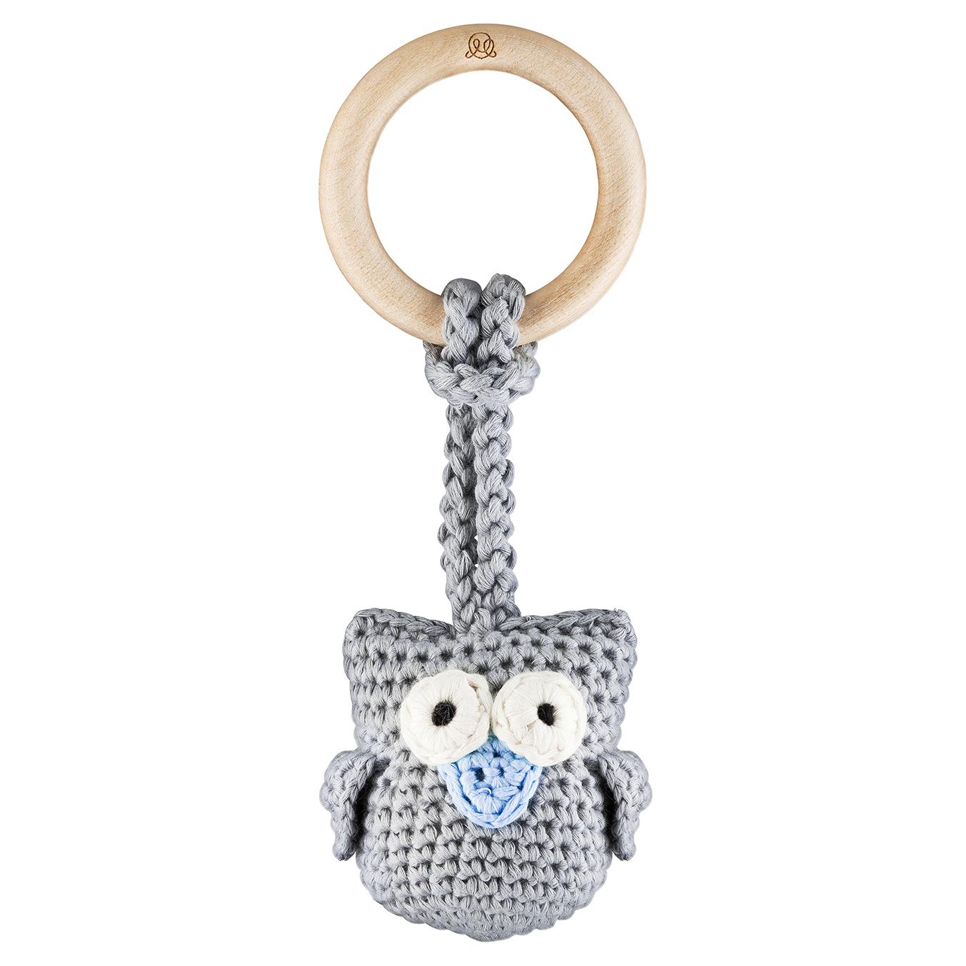 Eco owl teether Grey blue