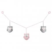 Garland Owls mini - grey-dusty pink