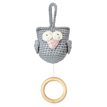 Music box Owl grey - dusty pink