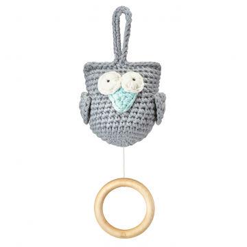 Music box Owl grey - mint