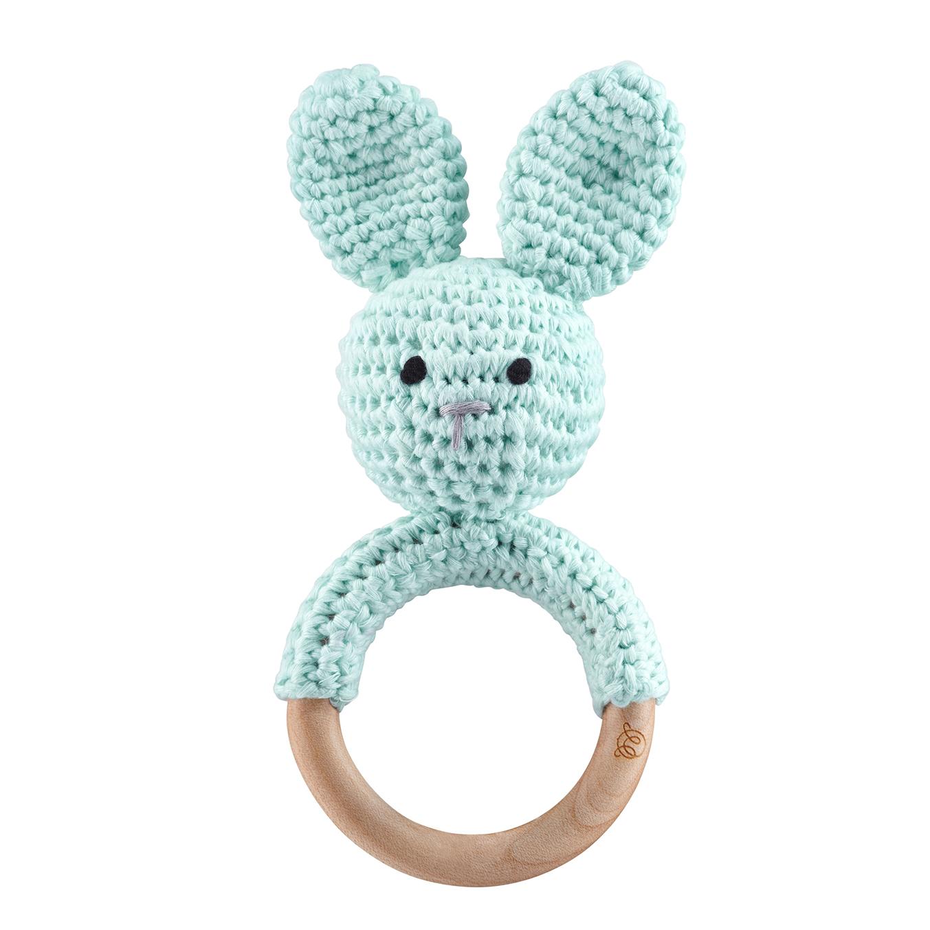 Rattle teether Bunny Mint