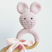 Rattle teether Bunny Dusty pink