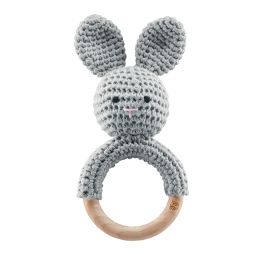 Rattle teether Bunny Grey