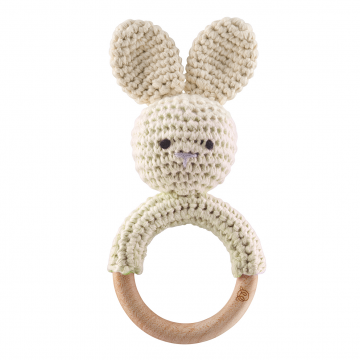 Rattle teether Bunny Cream