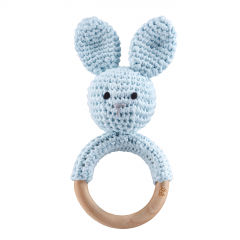 Rattle-teether Bunny - light blue