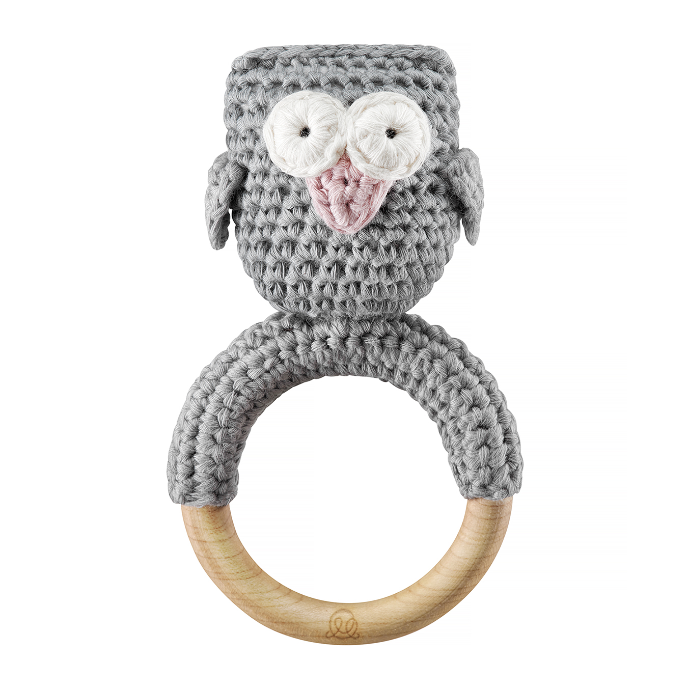 Rattle teether Owl Grey dusty pink