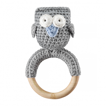Rattle teether Owl Grey blue