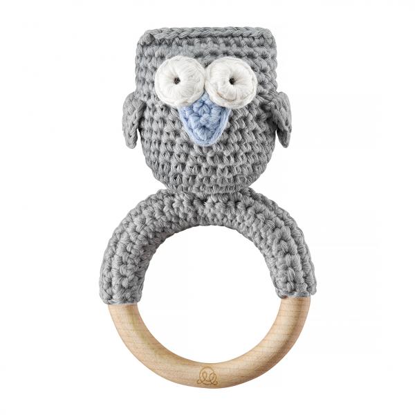 Rattle teether Owl Grey blue