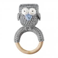 Rattle-teether Owl - grey-light blue