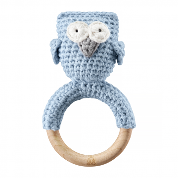 Rattle teether Owl Blue