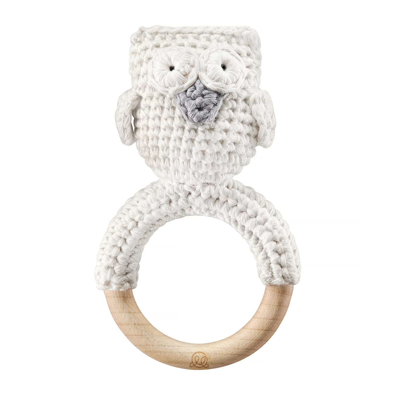 Rattle teether Owl Cream