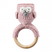 Rattle-teether Owl - dusty pink