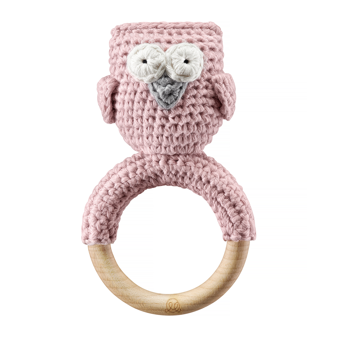 Rattle teether Owl Dusty pink