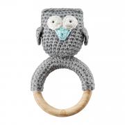 Rattle-teether Owl - grey-mint